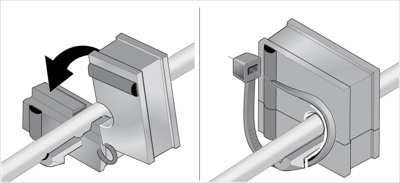 Fixarea cablurilor detensionare se realizeaza cu coliere plastic manson