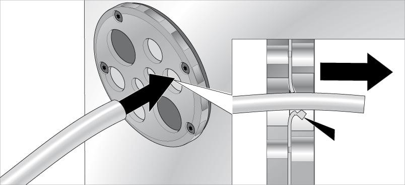 Introducerea cablurilor in placile de trecere rotunde KDP-R Murrplastik
