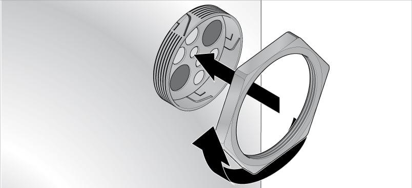 Montaj cu contrapiulita KDP-R placa de trecere rotunda compacta Murrplastik