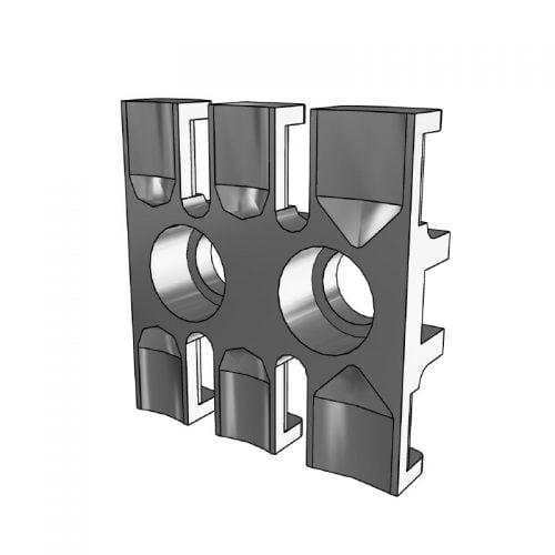 Placa de fixare pentru 3 cabluri. Lungime 38,5 mm. Se foloseste oriunde trebuie retinute si ghidate cabluri, tuburi si furtunuri intr-un mod sigur, usor si eficient 3D