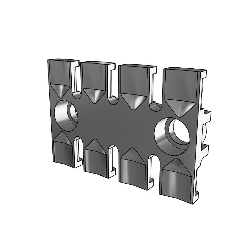 Placuta de fixare pentru 4 cabluri. Lungime profil 59,5 mm. Utilizat pentru retinerea si ghidarea cablurilor, tuburilor si furtunurilor intr-un mod sigur si rapid. 3D