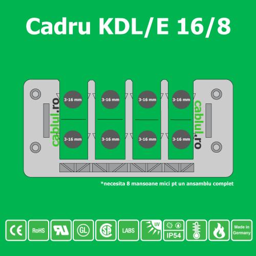 Cadru-KDL-E-16-8 se monteaza in decupaj 86 x 36 direct prin inclichetare sau cu suruburi in gauri Calitate superioara germana Tehnologia de a 3 a generatie