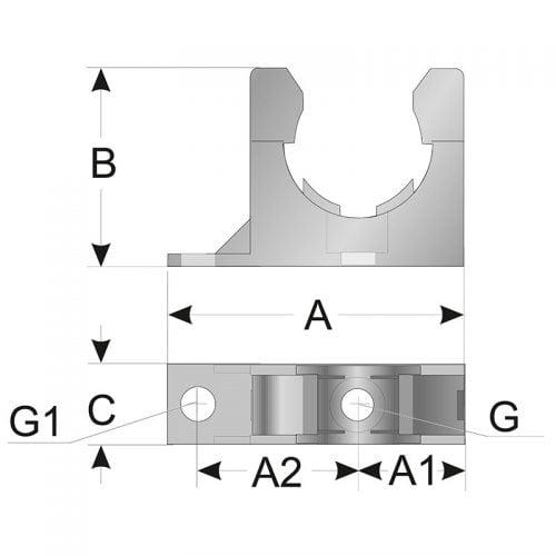 Clema prindere fixare copex schita desen tehnic vedere dimensiuni montaj instalare pozare tub riflat flexibil de protectie cabluri electrice instalatii