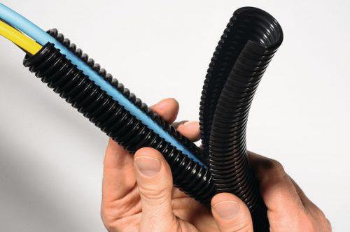 Copex gofrat riflat dubla sectiune Dual coflex Tub flexibil accesoriu echipament telecomunicatii format din doua straturi suprapuse cabluri fibra optica distributie electrica
