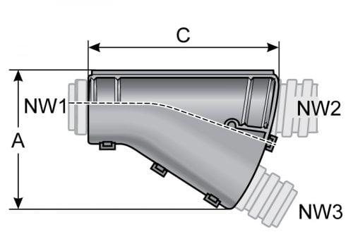 Desen tehnic distribuitor tip Y de tuburi copex gofrate flexibile Cupleaza uneste si distribuie tuburi de dimensiuni diferite sau egale