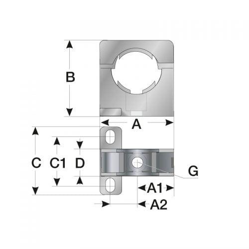 Detalii tehnice suport de prindere si fixare copex permite rotatia pivotare a tuburilor in clema Montaj stabil rapid 3 puncte gauri de instalare