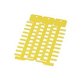 Eticheta galbena 4 x 12 mm cabluri instalatii electrice Montaj in tile port etichete transparente suprafata lucioasa rezistenta la temperaturi ignifuga
