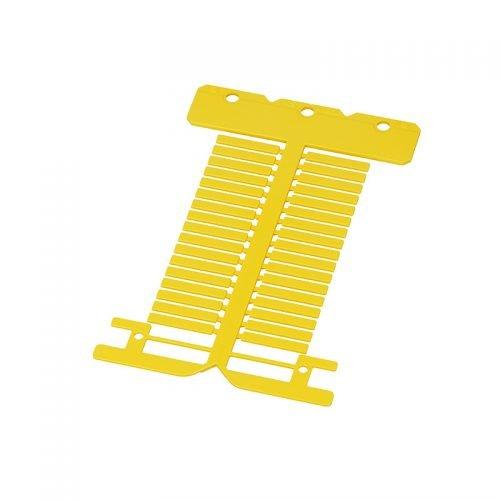 Eticheta galbena ignifuga policarbonat fara halogen 4 x 23 mm Instalatii electrice si marcare cabluri fire conductoare Montaj in tile transparente