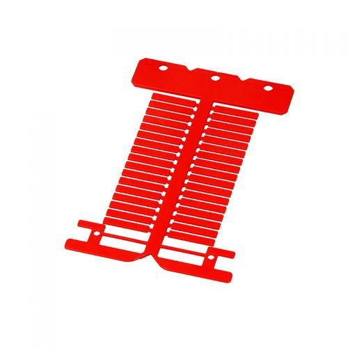 Eticheta rosie ignifuga policarbonat fara halogen 4 x 23 mm Etichete instalatii electrice si marcare cabluri fire conductoare Montaj in tile transparente