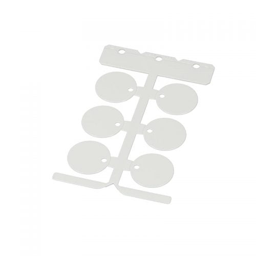 Eticheta rotunda 30 mm alba Etichetare furtunuri pneumatice hidraulice tevi echipamente utilaje masini masinarii Marcare profesionala pt identificare