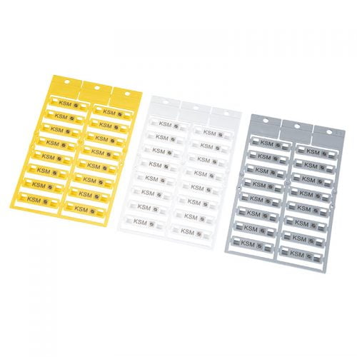 Etichete 35 x 8 mm gama KSM culori galben alb gri Imprimare de calitate Instalare directa cu coliere bride fasete bride panduiti