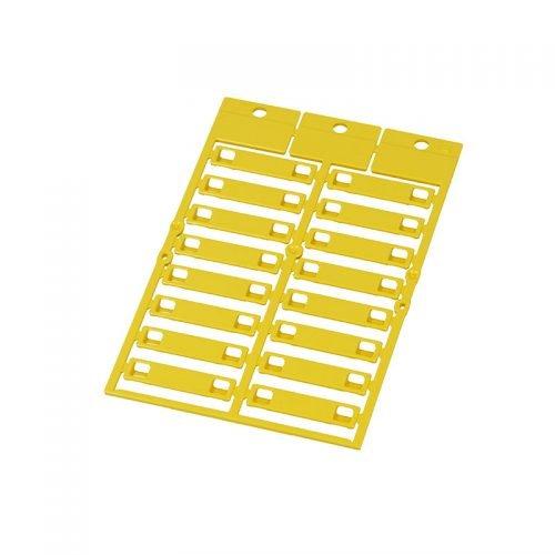 Etichete galbene 35 x 8 mm pt marcare cabluri fire conductori electrici furtunuri tevi tuburi copex riflate flexibile