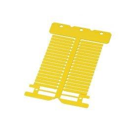 Etichete galbene fabricate din policarbonat ignifug fara halogen rezistente la temperatura si impact Dimensiune 4 x 30 mm culoare galben