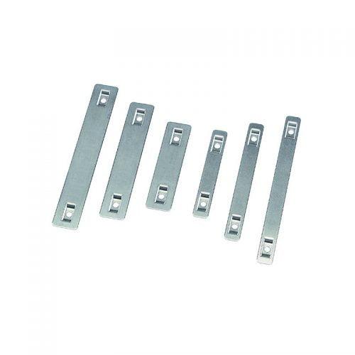 Etichete metalice inox identificare cablu cabluri conductori V4A otel inoxidabil Gama completa Prindere coliere plastic Fixare rapida Dimensiuni diferite