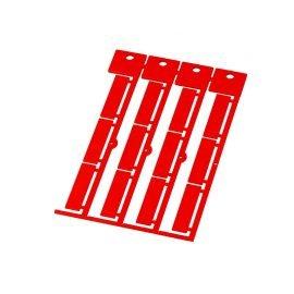 Etichete rosii mari 35 x 9 mm fabricate din policarbonat fara halogen ignifuge rezistente la impact si temperatura
