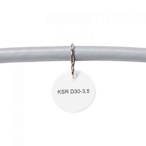 Etichete rotunde instalare cu coliere sau carlige forma tip S pe cabluri electrice telecomunicatii conductoare fire Prindere pe cablu deja instalat