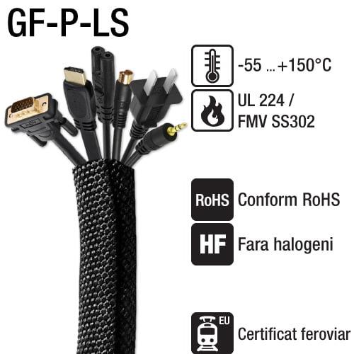 Invelisuri impletite auto-rulante slot longitudinal tesatura flexibila Protectie impotriva abraziunii Introducere usoara cabluri conector Rezistenta mecanica GF-P-LS