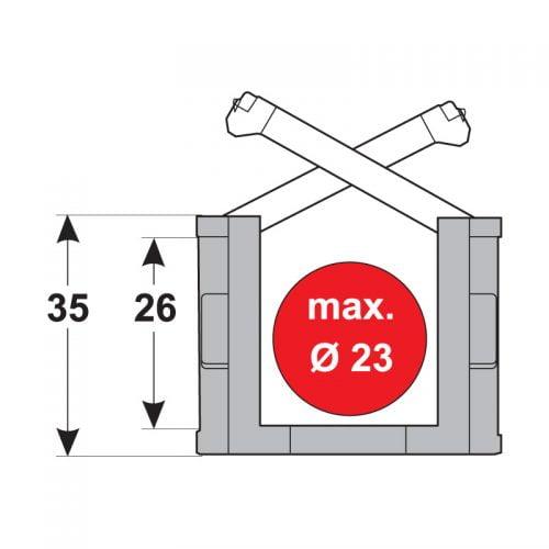 Lant portcablu 35 mm exterior 26 mm interior inaltime pentru conductori electrice alimentare energie tuburi si furtunuri de max 23 mm
