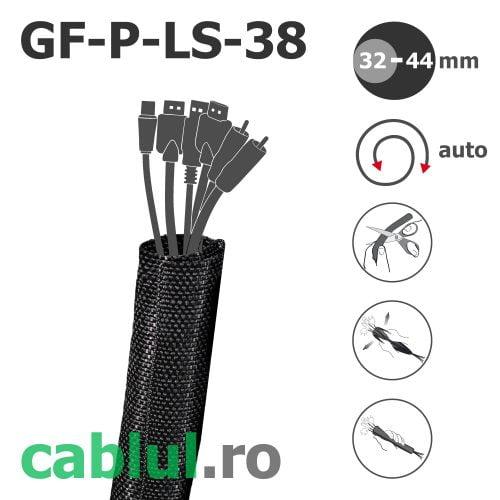 Manson textil impletit adaptabil maleabil pe cabluri conductori electrici fanta slit deschizatura pt instalatii deja montate configurate GF-P-LS-38