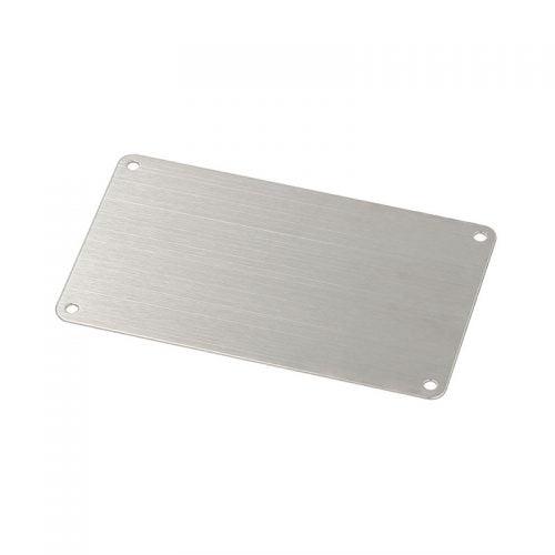 Placa de identificare inox 120x70 mm 4x gauri montaj 3,7 grosime 1 raza 5 Zona imprimabila 102,5 x 70 Placi metalice otel inoxidabil V4A