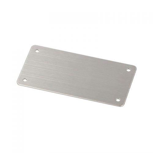 Placa metalica inox 74 x 37 mm 4x gauri montaj 2,5 grosime 1 raza 3 Zona imprimabila 59 x 37 marcare cu laser sau gravare etichete placi placute