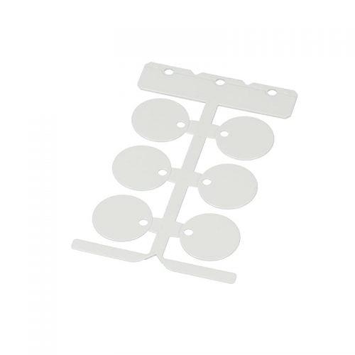 Placa rotunda alba 30 mm de identificare marcare calitate premium Policarbonat circular fara halogen aplicare pe cabluri electrice conductoare furtunuri tuburi deja instalate fixate montate