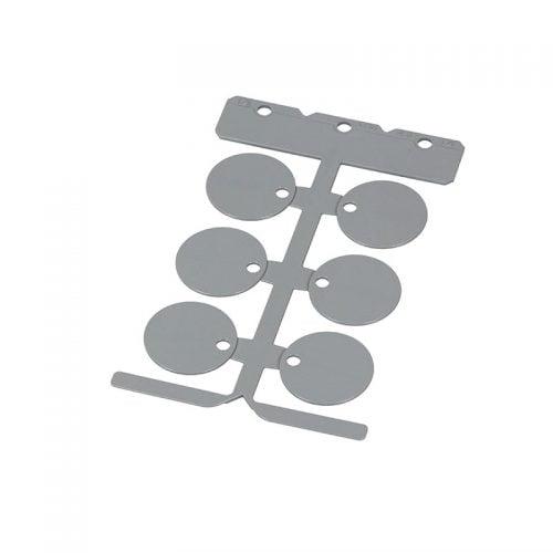 Placi gri rotunde 30 mm de identificare marcare calitate premium Policarbonat circular fara halogen aplicare pe cabluri electrice conductoare furtunuri tuburi deja instalate fixate montate