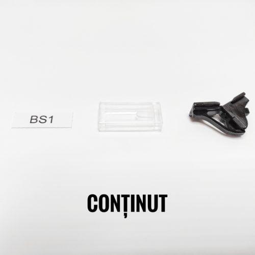 Sistem alcatuit piesa de prindere neagra capac transparent benzi hartie 27 x 8 mm coala A4 cu marginile perforate pregatit pentru printat si marcat
