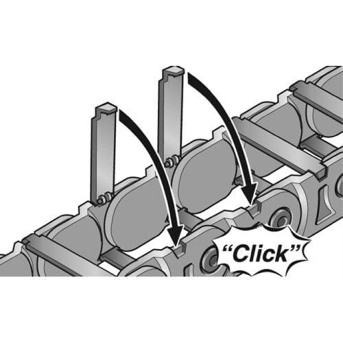 Sistem de inchidere prin inclichetare a lantului portcablu Acces rapid si usor la conductori cabluri electrice fire tuburi furtunuri hidraulice si pneumatice