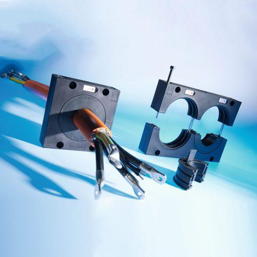 Sistem divizibil robust de protectie gestionare etansare intrare iesire cabluri fire conductori furtunuri tuburi de diametre mari KDL JUMBO