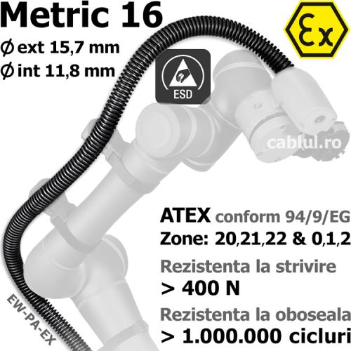 Tub protectie M16 ATEX mediu de lucru potential exploziv gaze inflamabile vapori praf combustibil suspendat aer vopsele substante produse periculoase EW-PA-EX