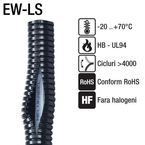 Tuburi cu fanta longitudinala seria EW-LS Murrflex Murrplastik Germania, conform ROHS, CE, fara halogeni, cadmiu