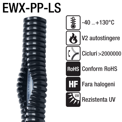 Tuburi flexibile cu rezistenta chimica fanta longitudinala Polipropilena Stabil la actiunile razelor UV rezistenta excelenta la impact EWX PP LS