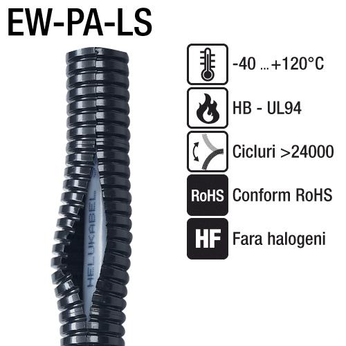 Tuburi flexibile fanta longitudinala fabricate din Poliamida 6 Introducerea cablurilor cu conector, mufa, pre-asamblate, se face usor si rapid EW_PA_LS