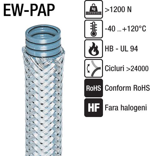 Tuburi flexibile impletitura metal protectie mecanica ridicata aplicatii EMC unde cablurile trebuie protejate domeniul sistemelor automate sudare zone expuse la aschii fierbinti EW-PAP