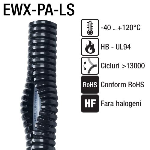 Tuburi sectionate ondulare mare flexibile Copex corugat fanta longitudinala permite inserarea cablurilor fara a fi nevoiti sa le mai taiati EWX PA LS