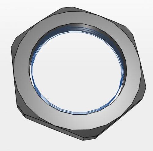 contrapiulita 3d cad autocad piulita de blocare hexagonala vedere tehnica spatiu geometrie descriptiva reprezentare cotare Culoare negru